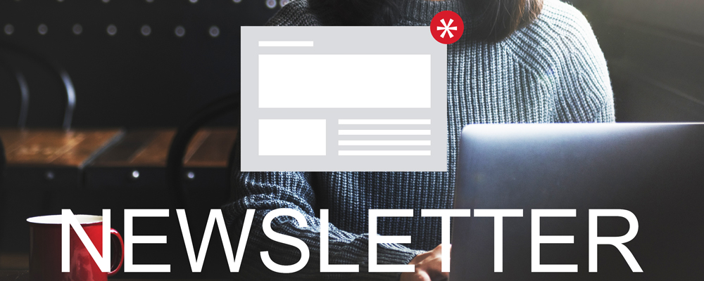 The word newsletter with graphic above it and woman sitting at laptop in the background